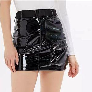 NWT I.AM.GIA Edam Black Patent Utility Mini Skirt